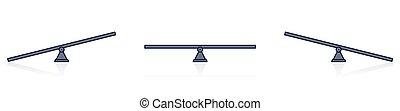 simple, balancín, ilustración, escalas, diferente, símbolos, balance