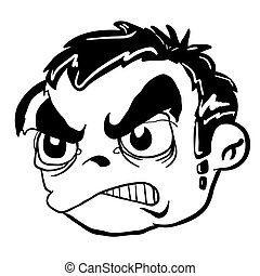 simple balck and white angry boy head