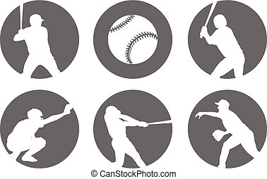 simple baseball icons set