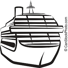 simple, bateau, illustration