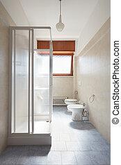 Simple bathroom in old apartment interior