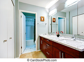 Simple bathroom interior with vanity cabinet and mirror -...