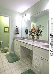 simple bathroom with double sinks