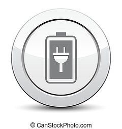 Simple battery icon. Battery charge icon. silver button