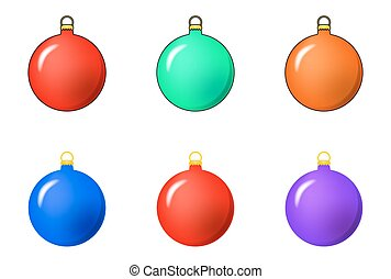 Simple Bauble set for christmas tree isolated on white...