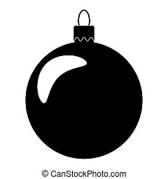Simple Bauble silhouette for christmas tree isolated on white background