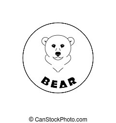 Simple bear face mascot emblem