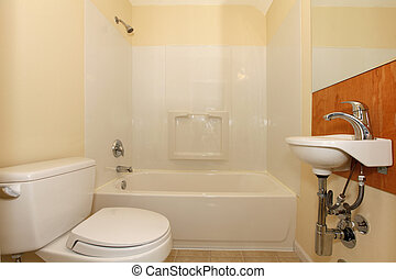 Simple bedroom with plastic tub and tiny sink - Simple...
