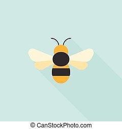 Simple bee icon, flat design