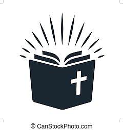 simple, biblia, icon., libro abierto, con, rayos de la luz, brillar, de, pages., religión, iglesia, estudio de biblia, concepto, contemporáneo, estilo, elemento del diseño, aislado, blanco, plano de fondo