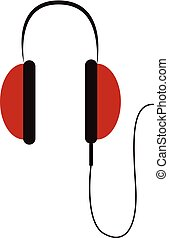 Simple big red headphones vector illustration on white background
