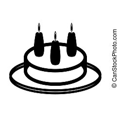 Simple birthday cake icon, three candles