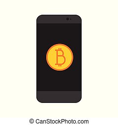 Simple Bitcoin Mobile App Vector Illustration Graphic