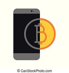 Simple Bitcoin Mobile Transfer Vector Illustration Graphic