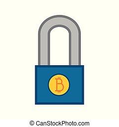 Simple Bitcoin Padlock Vector Illustration Graphic