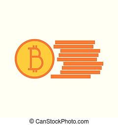 Simple Bitcoin Stack Symbol Vector Illustration Graphic