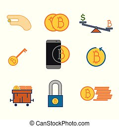 Simple Bitcoin Symbol Vector Illustration Graphic Set