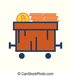 Simple Bitcoin Train Cart Vector Illustration Graphic