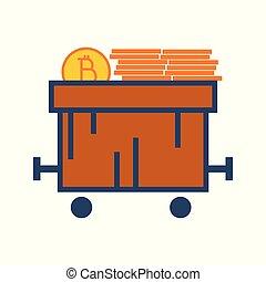 Simple Bitcoin Train Cart Vector Illustration Graphic