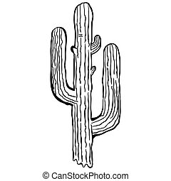 simple black and white cactus