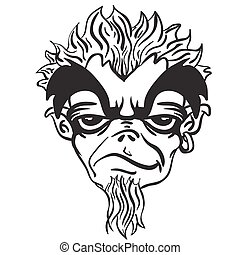 simple black and white freaky bearded monster cartoon