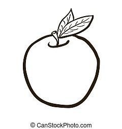 black and white freehand drawn cartoon apple