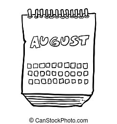 black and white freehand drawn cartoon calendar showing month of august