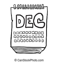 black and white freehand drawn cartoon calendar showing month of december