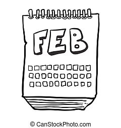 black and white freehand drawn cartoon calendar showing month of february