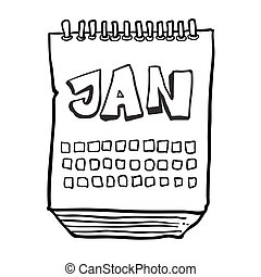 black and white freehand drawn cartoon calendar showing month of january