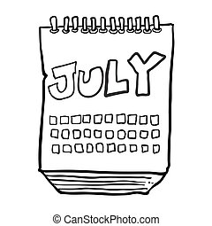 black and white freehand drawn cartoon calendar showing month of july