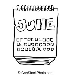 black and white freehand drawn cartoon calendar showing month of june