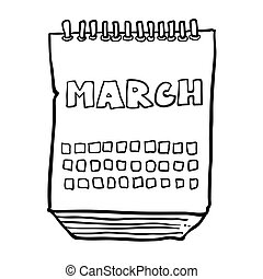 black and white freehand drawn cartoon calendar showing month of march