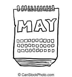 black and white freehand drawn cartoon calendar showing month of may