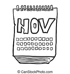 black and white freehand drawn cartoon calendar showing month of november