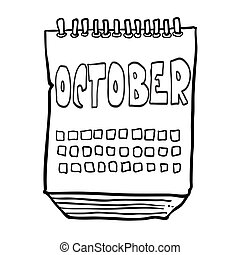 black and white freehand drawn cartoon calendar showing month of october