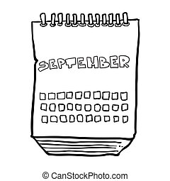 black and white freehand drawn cartoon calendar showing month of september