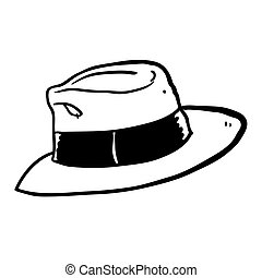 black and white freehand drawn cartoon hat