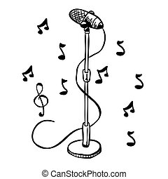 simple black and white microphone on a stand