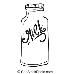 simple black and white milk bottle