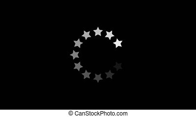 Simple black and white preloader with a circle of stars. Animation of a design minimal preloader with white stars fading in and out. Alpha channel