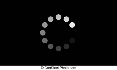 Simple black and white preloader with dots circle. Animation of a design minimal preloader with white circles fading in and out. Alpha channel