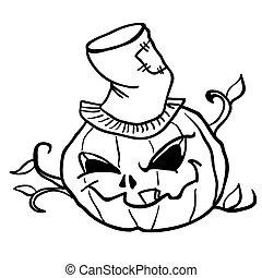 simple black and white pumpkin head 1