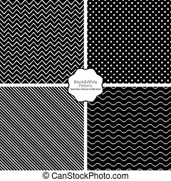 Simple black and white seamless patterns.
