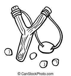 simple black and white slingshot cartoon