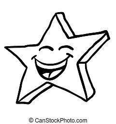 black and white smiling star