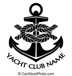 Simple Black and White Yacht Club Logo Graphic Design with Text Area for Name Below. Emphasizing Anchor with Rope.
