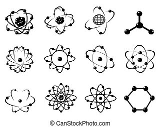 simple black atomic icons on white background
