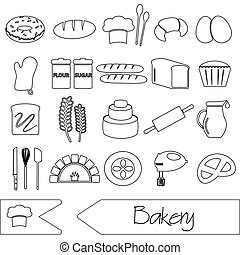 simple black bakery items outline icons set eps10