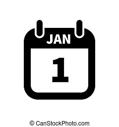 Simple black calendar icon with 1 january date isolated on...
